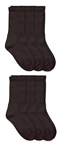 Jefferies Socks Jungen Seamless Sport Crew Halbkissen Socken (6er Pack) - Schwarz - Large
