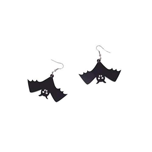LKJHG Orecchini Pendenti da Donna, Pipistrello Nero Vintage Acrilico Halloween Interessante Ciondolo da Festa Ciondola L'Anello Pendente Orecchini per Donna Uomo Donna Ragazza Regali