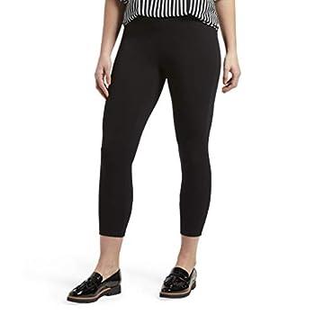Hue Women s Wide Waistband Blackout Cotton Capri Leggings Assorted Hosiery Black Large US