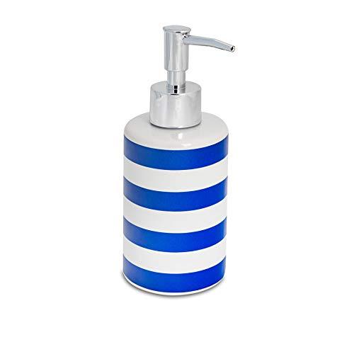Harbour Housewares Dosificador de jabón - Cerámica esmaltada - Rayas Azul Marino - 280ml