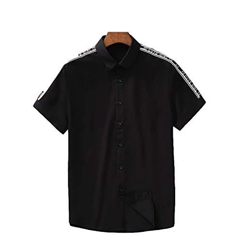 Camisa de Manga Corta con Costura de Verano para Hombre, Ajustada, cómoda, Delgada, Informal, Simplicidad, Moda, Camisas básicas con Botones M