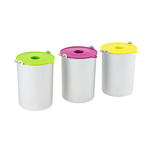 H.Koenig Eisbehälter BO325, passend für Eismaschine HF250 - 1,5 L - 3x Behälter in silber, Deckel in grün, pink und gelb