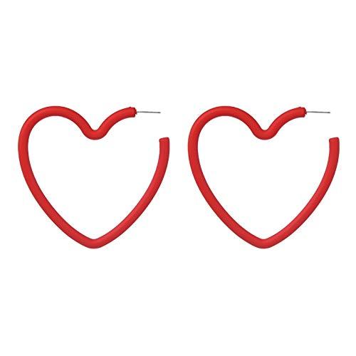 NOBRAND Pendientes De Mujer Pendientes De Aro En Forma De Corazón Rojo Pendientes De Moda Femenina