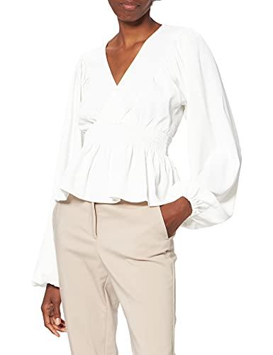 NA-KD Smocked Waist Blouse Blusas, Blanco Roto, 2XS para Mujer