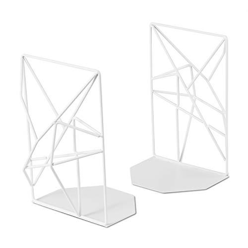 RooLee ブックエンド 本立て オリジナルデザイン ブックスタンド ファイル 雑誌 新聞 書類入れ 安定 耐久 錆びにくい おしゃれ 金属製 2枚1組 (ホワイト)