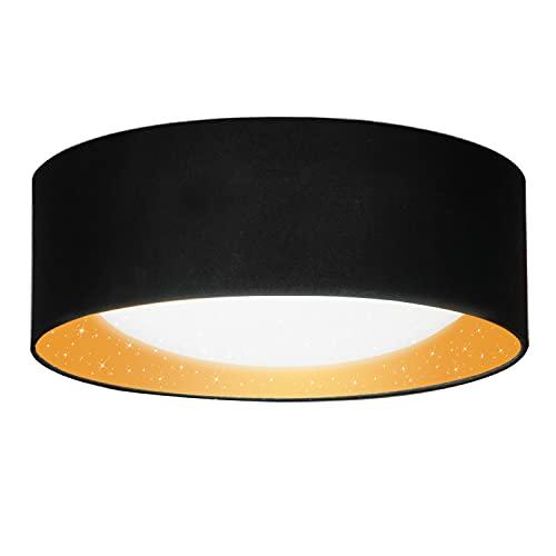 Leselux Lámpara LED Techo, Efecto Estrella, Luz Techo LED con Pantalla Textil, Blanco Neutro 4000K, 1200lm 12W, Plafones para Techo LED Redonda para Salón Dormitorio Cocina, Ø32 * 11cm, Oro negro