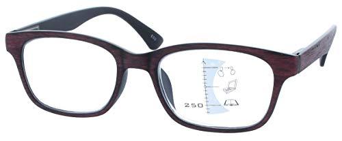 Gleitsichtbrille GEROLD - erweiterte Fertiglesehilfe/Lesebrille | Arbeitsplatzbrille +1,00 dpt in Rot-Braun