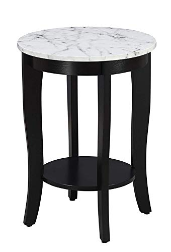 Convenience Concepts American Heritage Round End Table, White Faux Marble / Black