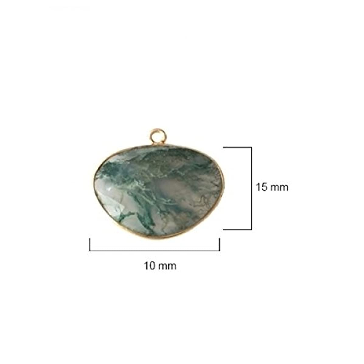 2 Pcs Natural Moss Agate Oval Beads 10X15mm 24K Gold Vermeil by BESTINBEADS, Natural Moss Agate Oval Pendant Bezel Gemstone Connectors Over 925 Sterling Silver Bezel Jewelry Making Supplies