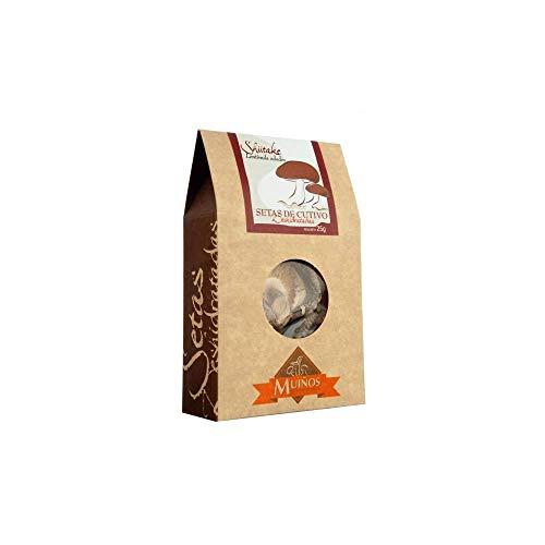 Setas Shiitake deshidratadas Porto Muiños, Seta de Origen Asiático - Intenso Sabor y Textura 25 g