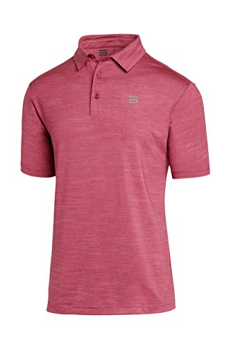 Three Sixty Six Golf Shirts for Men - Dry Fit Short-Sleeve Polo, Athletic Casual Collared T-Shirt Magenta