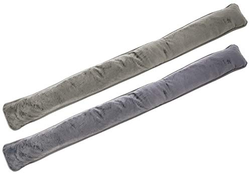 com-four® 2X Zugluftstopper für Tür und Fenster - Microfaser Windstopper- Energie sparen mit Luftzugstopper (02 Stück - Taupe/grau)