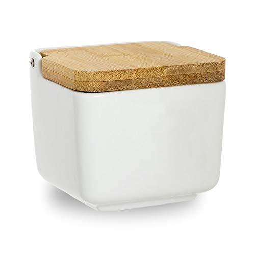 Home Gadgets - Saliera in ceramica bianca con coperchio in legno, 12 cm