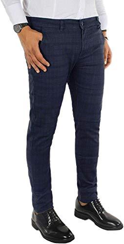 Evoga Pantaloni Uomo Casual Invernali Principe di Galles Eleganti Slim Fit (52, Blu Scuro)