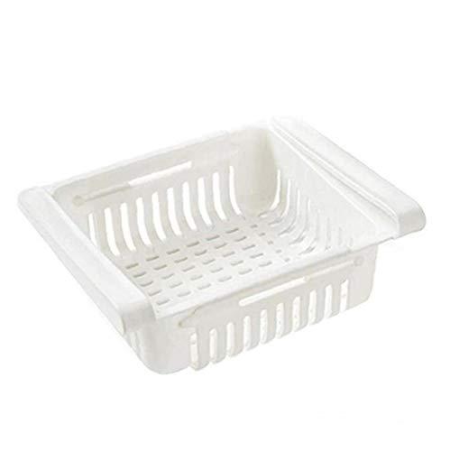 Cesta de almacenamiento frigorífico Frigorífico organizador del cajón retráctil de alimentos frescos de mantenimiento de la nevera para el almacenamiento de cocina blanca