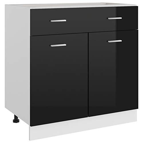 Tidyard Küchenschrank mit 2 Regalböden und eine Schublade Unterschrank Küchenzeile Küchenmöbel Küchenregal Einbauküche Aufbewahrungsschrank Spanplatte Hochglanz-Schwarz 80x46x81,5 cm Spanplatte