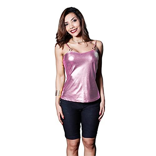 Camisola De Cuero De Patente De PU De Metal para Mujer, Camiseta Sin Mangas Sexy Sin Espalda, Camisa De La Blusa De Chaleco,Rosado,M
