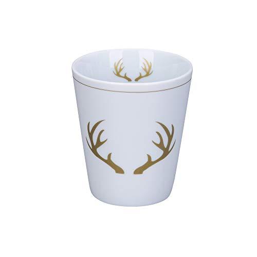 Krasilnikoff - Becher, Tasse - Happy Mug - Winter Lodge, Hirsch - Höhe: 10 cm - Volumen: 330 ml