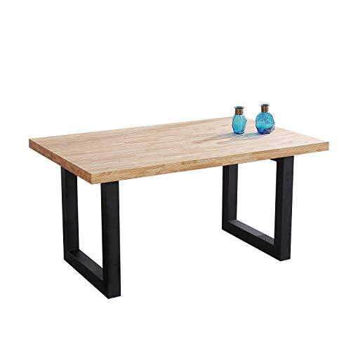 Loft, Mesa de Comedor, Mesa Salon o Cocina Fija, Acabado en Roble Salvaje y Negro, Medidas: 160 cm (Largo) x 100 cm (Ancho) x 75 cm (Alto)…