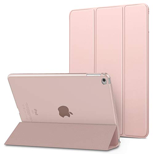 MoKo Case Fit iPad Air 2, Slim Lightweight Smart-shell Stand Cover with Translucent Frosted Back Protector Fit iPad Air 2 9.7' Tablet - Rose Pink (with Auto Wake/Sleep, Not fit iPad Air)