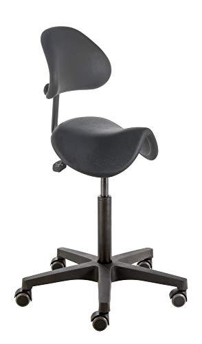 Sillín taburete, sillín Asiento Taburete con respaldo ajustable, Modelo Pur de RT y Inclinable Negro PU de asiento, rango de HUB aprox. 55de 74cm, ruedas con suave radbandage