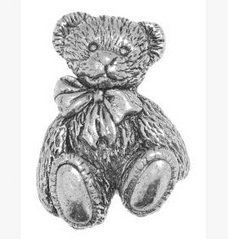 Gift Boxed Pewter Langdale Ted Teddy Bear Tie - Lapel Pin Brooch Badge