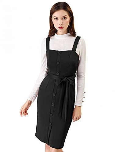 Allegra K Women's Pinafore Button Decor Strap Sheath Stretchy Jumper Suspender Overall Dress Medium Black