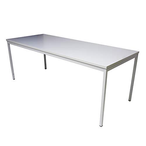 ADB Bürotisch Stahlrohr-Tisch Computertisch Büro Schreibtisch PC Arbeitstisch grau 2000x800x750 mm