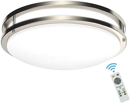 DLLT 30W Modern Dimmable LED Flush Mount Ceiling Light Fixture with Remote-14 Inch Round Close to Ceiling Lights for Living Room/Kitchen/Bedroom/Dining Room, 3000K-6000K 3 Light Color Changeable