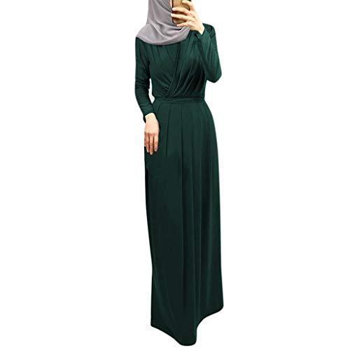 WUDUBE Mode Frauen Moslemische Robe, Indische Plissiertes Kragen Indische Frauen Muslimisches Kleid Elegantes Kleid Lose