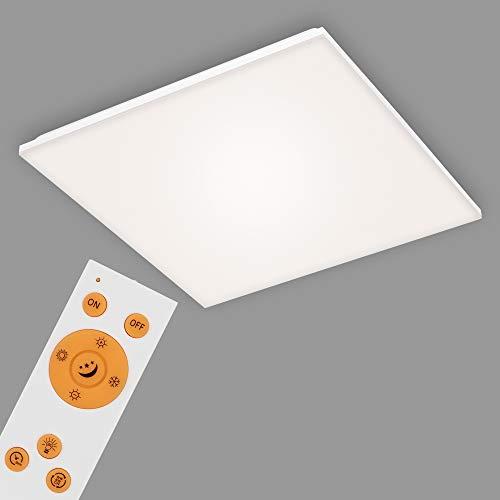 Briloner Leuchten - LED Panel, LED Deckenlampe dimmbar, rahmenlos, Farbtemperatursteuerung, inkl. Fernbedienung, 38 Watt, 3.800 Lumen, Weiß, 595x595x75mm (LxBxH)