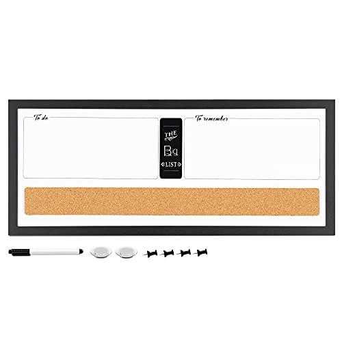 Navaris Pizarra Blanca magnética con imanes - Panel magnético con Corcho para Pared - Planificador con 1x rotulador 2X imán y 4X chincheta - Blanco