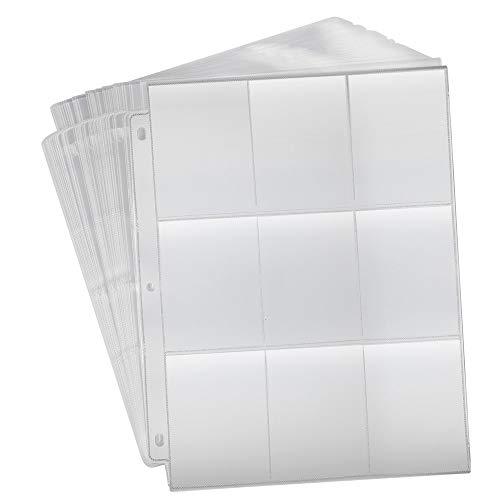 KUUQA 30 vellen transparante tassen Trading Card Protector mouwen anti-slip speelkaarten Binder voor het verzamelen van kaarten, 3-ring binder met 9 zakken (270 vakken)