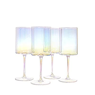 Square Wine Glasses With Stem - Crafted from Premium Hand Blown Crystal - Red and White Pearly Iridescent Tinge - For Weddings and Anniversaries - Long-Stemmed Wine Glasses Set of 4-17.5 ounces