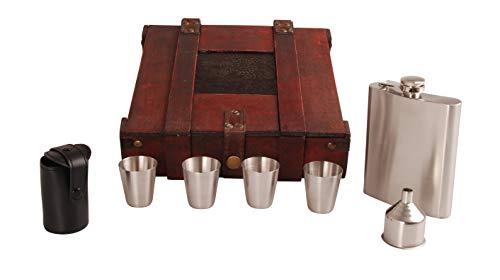 MYBOXES Geschenkset: 200 ml Flachmann mit Trichter, Etui aus Leder für Vier Schnapsgläser in Einer Holzkiste in rustikaler Optik