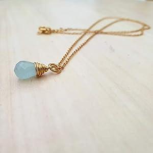 Aquamarin Drop 18K Gold überzogener Silberdraht umwickelte hängende Kette Edelstein Halskette Schmuck 16 Zoll