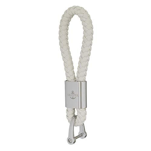 Skipper Schlüsselanhänger aus Kunst-Leder und Edelstahl - Weiß 7286