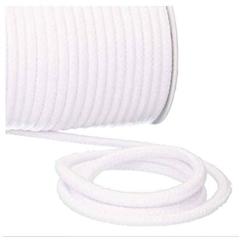 Turnbeutelliebe® Kordel 100% Baumwolle 8mm breit, dick - für Turnbeutel, Taschen & Hosen - zum nähen - viele Farben und Längen - geflochten - Schnur - Seil - Bastelschnur - Band (weiß, 5)
