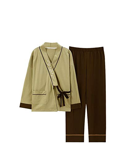 LEYUANA Traje de Kimono y Pijama para Mujer, cárdigan de Manga Larga de Primavera y otoño, Ropa de hogar Bonita de Estilo japonés Holgado de algodón XXXL 7700