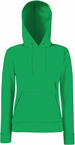 Fruit of the Loom Classic Hooded Sweat Lady-Fit Sudadera con Capucha, Verde (Kelly Green 518), S para Mujer