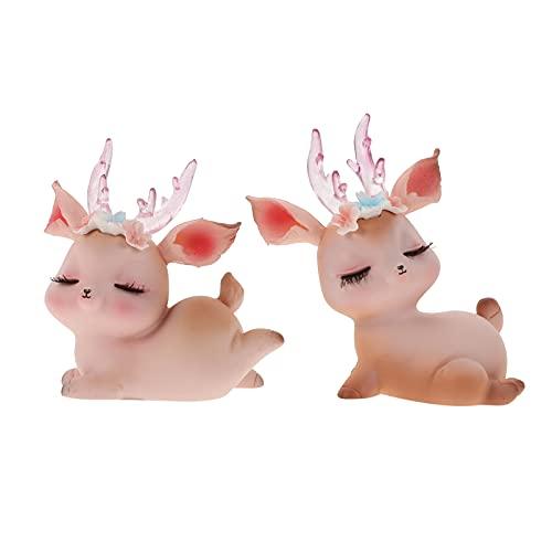 GARNECK 2Pcs Del Fumetto Dei Cervi Statua Carino Mini Renna Cake Topper Figura Di Natale In Miniatura Da Collezione Figurine Per La Fata Giardino Auto Cruscotto Decor