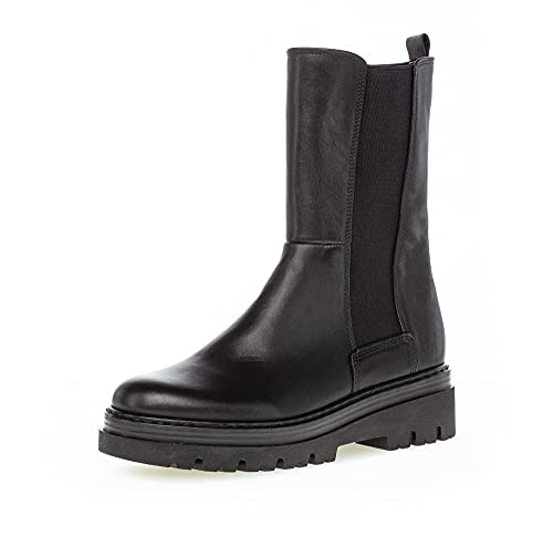 Gabor Damen Chelsea Boots, Frauen Stiefeletten,Wechselfußbett,Komfortable Mehrweite (H),Schlupfstiefel,gefüttert,schwarz (Flausch),43 EU / 9 UK