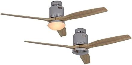CASAFAN Ventilateur de Plafond, 2 Flamme aerodynamix eco-Couleur (Support): Chrome Brillant/pales: Naturel