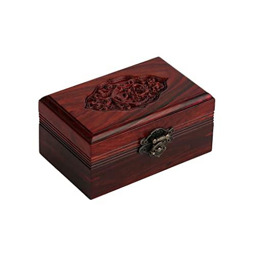 Cajas para joyas Caja de joyería retro de madera Caja de almacenamiento Caja de almacenamiento Caja de cosmética Anillo Pendiente Collar Pulsera Reloj Pequeño Joyería Caja de almacenamiento 5.31 pulga