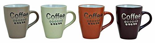 Kaffeebecher 4-fach sortiert, in Erdtönen, mit Aufschrift/Dekor Coffee, aus Keramik, Höhe: 11 cm, Fassungsvermögen 250 ml