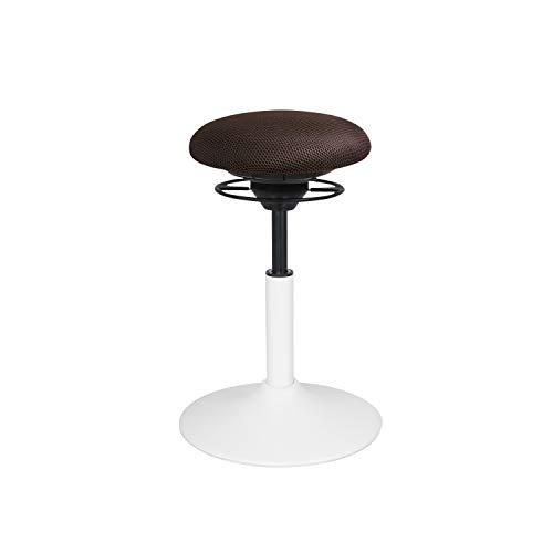 BALIMO Classic, Bürohocker, Sitzhocker, ergonomischer Rücken-Trainer, Standfuß weiß, Bezug braun, mit Softpolster