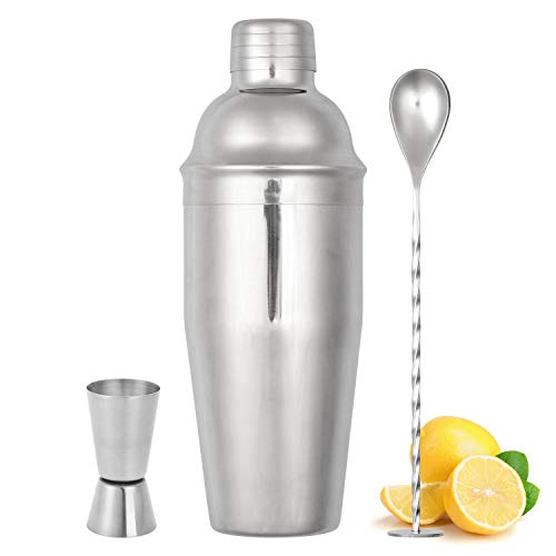 Cocktail Shaker Set, 3 Piece Bartender Kit, 25 oz Martini Shaker Set with Measuring Jigger and Mixing Spoon, Professional Stainless Steel Bar Tools - Built-in Bartender Strainer