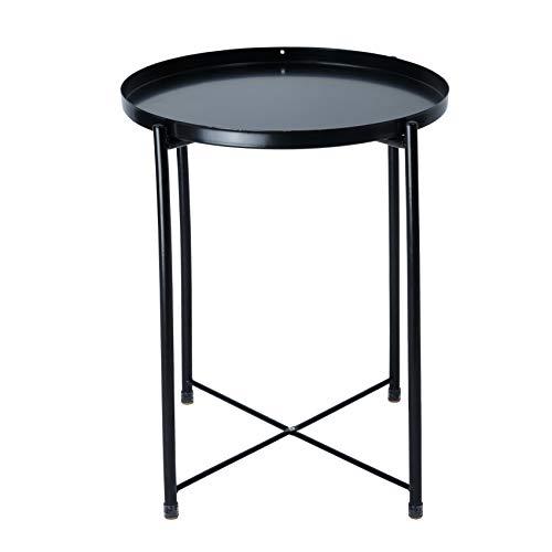 IKAYAA Tavolino Rotondo con Vassoio Rimovibile, Tavolo Snack Laterale Divano Tavolino da caffè Comodino in Metallo per Soggiorno, Camera da Letto, Patio Nero