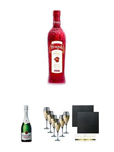 Toschi Fragoli 0,7 Liter + Cantor alkoholfreier Sekt 0,75 Liter + Scavi & Ray Prosecco (durchsichtig) Glas 6 Stück + Schiefer Glasuntersetzer eckig ca. 9,5 cm Ø 2 Stück