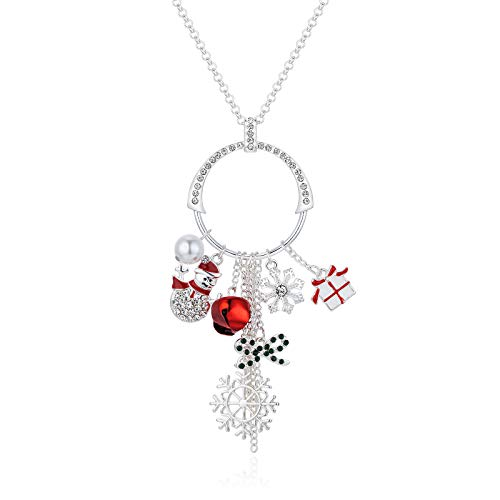 Cute Christmas Sweater Long Tassel Circle Pendant Necklace For Women Silver Plated CZ Crystal Rhinestone Jingle Bell Snowflake Snowman Bow Holiday For Her